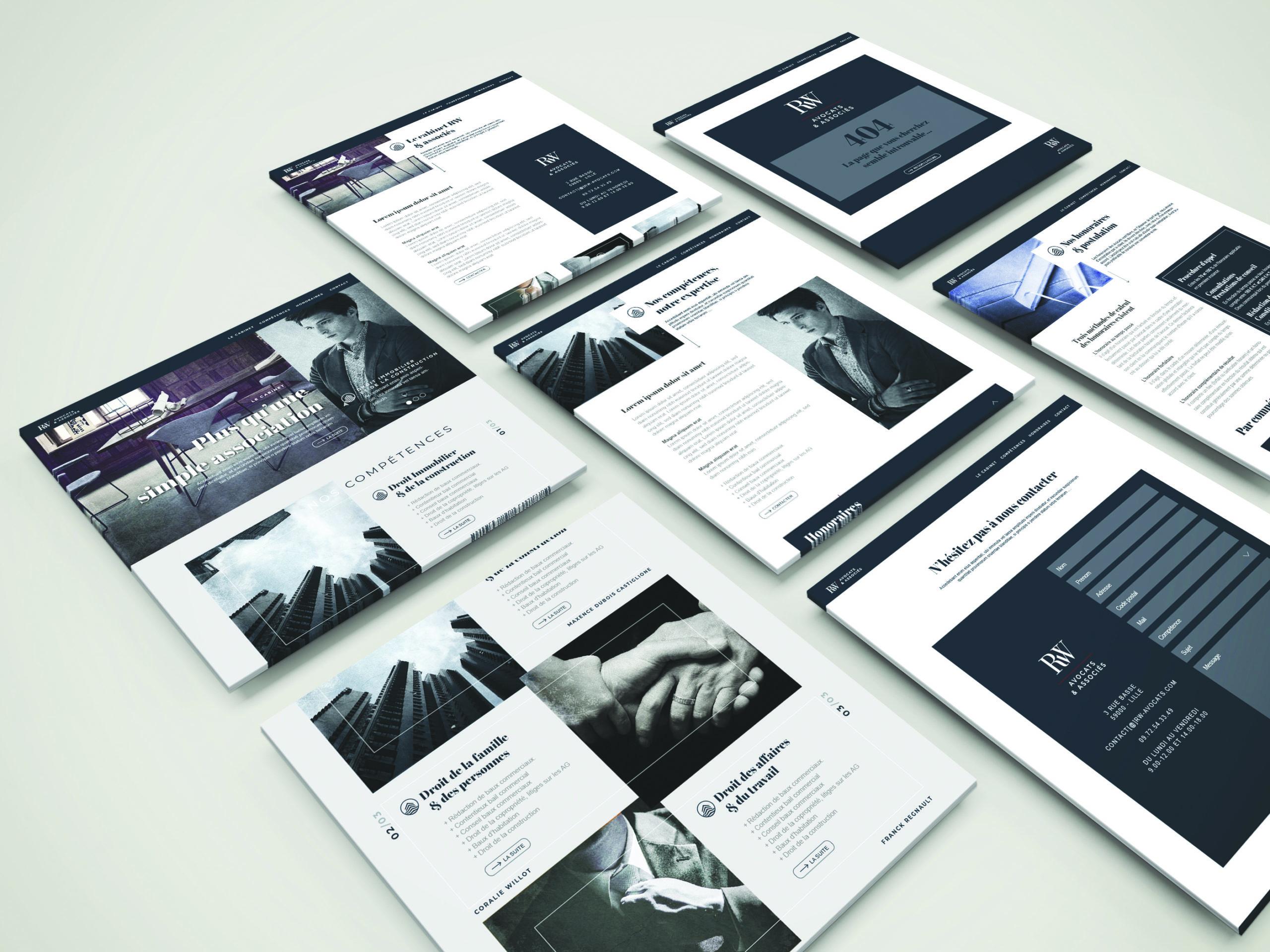 plusieur maquette à plat du web design pour un cabinet d'avocat