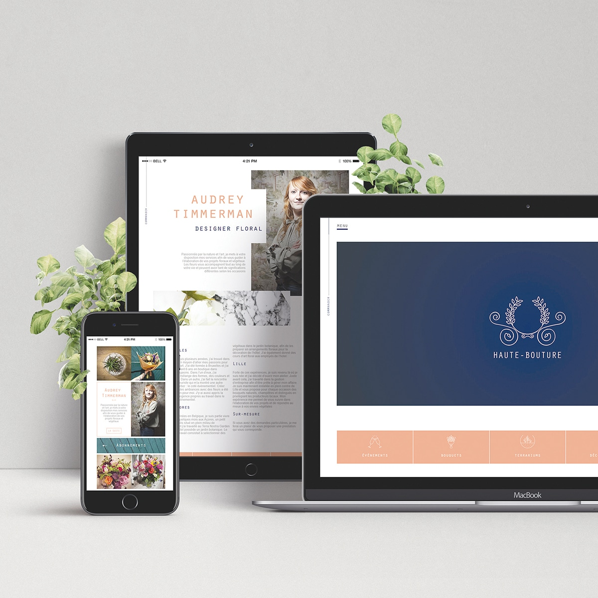 Smartphone, pc et tablette affichant le web design du site